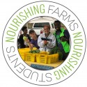 "Students at farm stand. Image framed by circle that says ""Nourishing Farms Nourishing Students"""